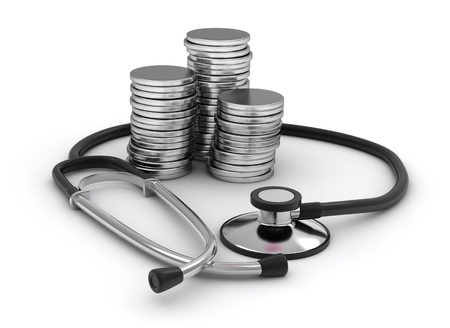 financial condition: 3D Illustration of Coins and a Stethoscope