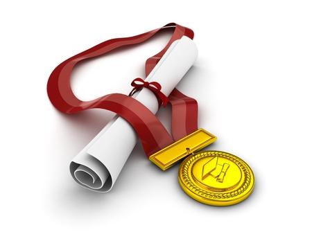 3D Illustration of a Diploma and Medal Huddled Together illustration