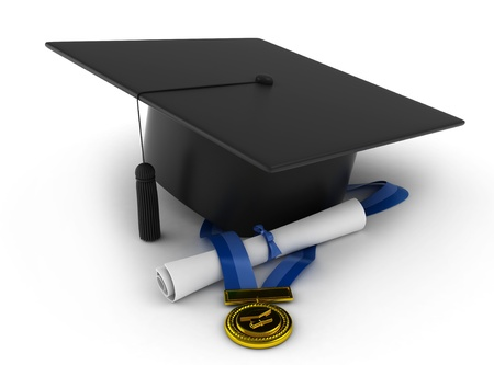 credential: 3D Illustration of a Graduation Cap, Ribbon, and Diploma