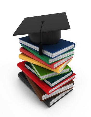 commencement exercises: 3D Illustration of Books and a Graduation Cap