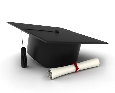 berretto: Illustrazione 3D di un tappo di laurea e Diploma Archivio Fotografico