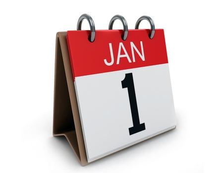 enero: Ilustraci�n 3D de un calendario de escritorio el 1 de enero