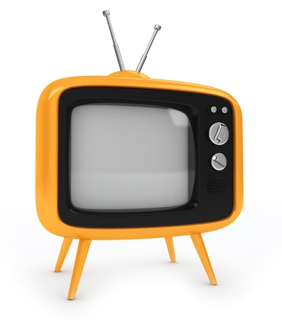 idiot box: 3D Illustration of an Old-fashioned Television Stock Photo