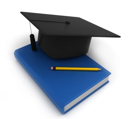 commencement exercises: 3D Illustration of Graduation Cap Book and Pencil Stock Photo