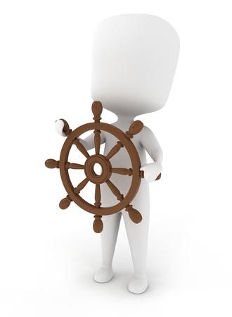 3D Illustration of a Man Sailing illustration