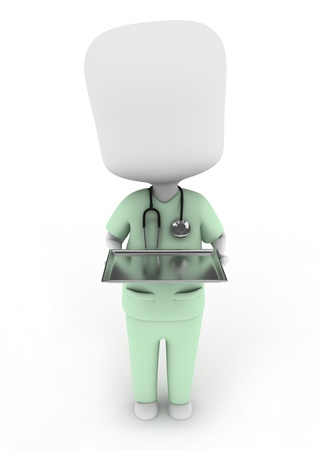 scrub: 3D Illustration of a Man in Scrub Suit Carrying a Medicine Tray