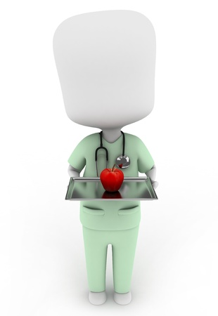 scrub: 3D Illustration of a Nurse Carrying an Apple as Prescription