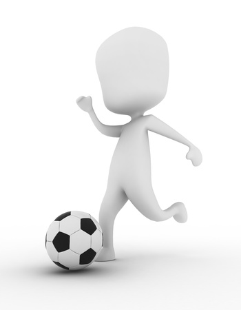 athleticism: 3D Illustration of a Man Kicking a Soccer Ball Stock Photo