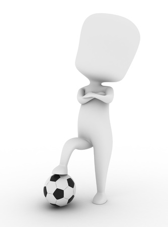 athleticism: 3D Illustration of a Proud Soccer Player Stepping on a Ball Stock Photo