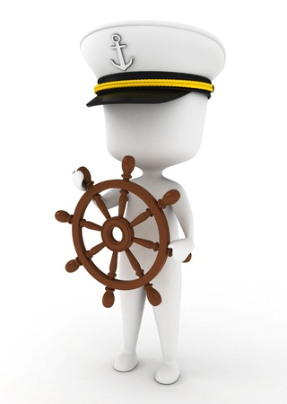 captain: 3D Illustration of a Ship Captain holding the Steering Wheel