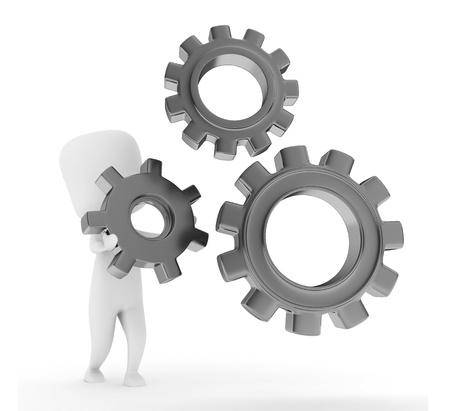 arranging: 3D Illustration of a Man Arranging Cogwheels Stock Photo