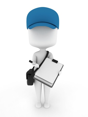receipts: 3D Illustration of a Delivery Guy presenting Paper for Signing