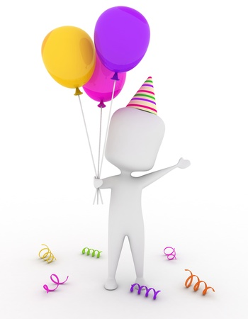 party hat: 3D Illustration of a Man Wearing a Party Hat Holding Some Colorful Balloons