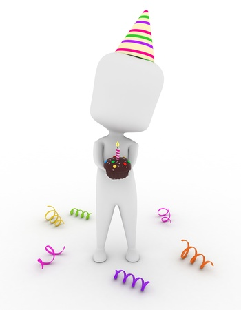 3D Illustration of a Man Holding a Cupcake with a Candle on Top Stock Illustration - 9307183
