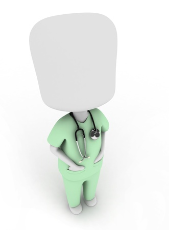 scrub: 3D Illustration of a Man in a Scrub Suit Looking Up