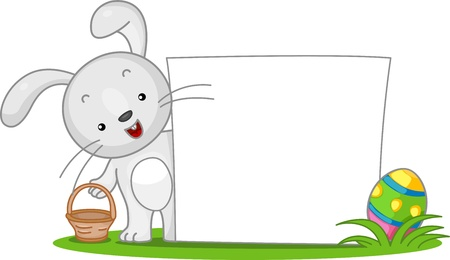 easter bunny: Illustration of an Easter Bunny Standing Beside a Blank Banner