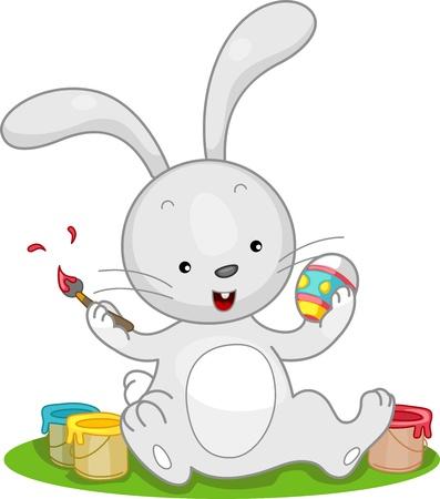 Illustration of an Easter Bunny Making an Easter Egg Stock Illustration - 9331943