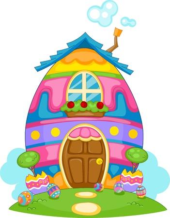 case colorate: Illustrazione di un uovo di Pasqua a tema House
