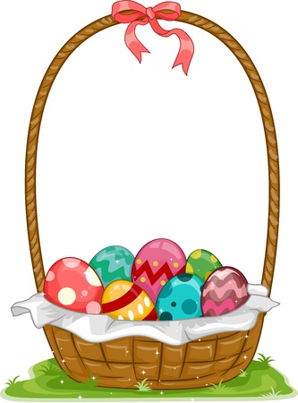 easter eggs basket: Illustration of an Easter Basket Filled with Easter Eggs Stock Photo