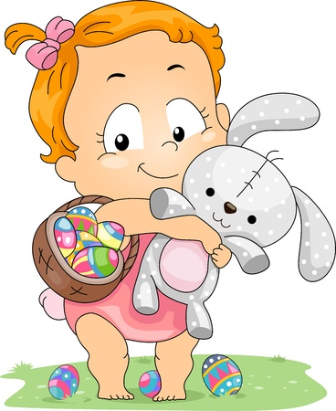 Illustration of a Baby Carrying an Easter Basket and an Easter Bunny illustration