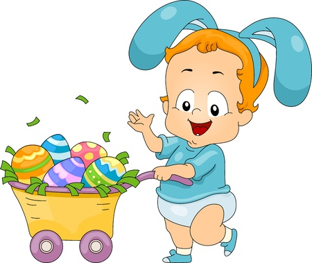 Illustration of a Baby Pushing a Cart Filled with Easter Eggs illustration