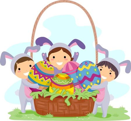 Illustration of Kids Carrying Large Easter Eggs Stock Illustration - 9331862
