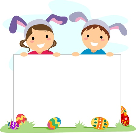 Illustration of Kids Holding an Easter Banner illustration