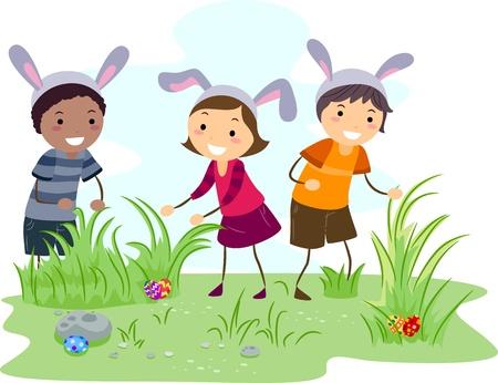 Illustration of Kids on an Easter Egg Hunt illustration