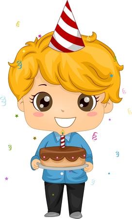 Illustration of a Kid Holding a Birthday Cake Stock Illustration - 9456817