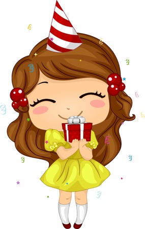 happy birthday girl: Illustration of a Kid Holding a Birthday Gift