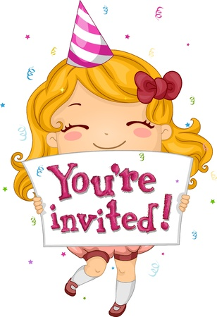 and invites: Illustration of a Kid Inviting People to Her Party Stock Photo