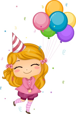 delighted: Illustration of a Girl Holding Birthday Balloons