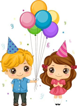 Illustration of a Boy Giving Balloons to a Girl Stock Illustration - 9456911