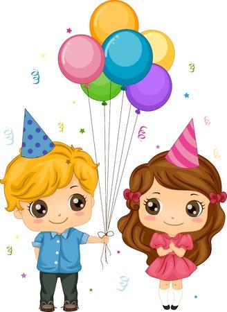 niño y niña: Ilustración de un niño dando globos a una chica