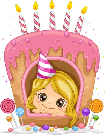 pink cake: Illustration of a Girl Inside a Cake Shaped Window