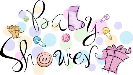 Texto con la palabras de Baby Shower Foto de archivo - 9456838