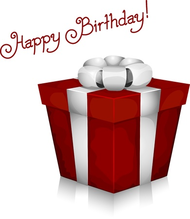 Illustration of a Gift with Birthday Greetings in the Background Stock Illustration - 9456818