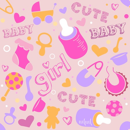 Seamless Background Illustration of Baby Related Items illustration