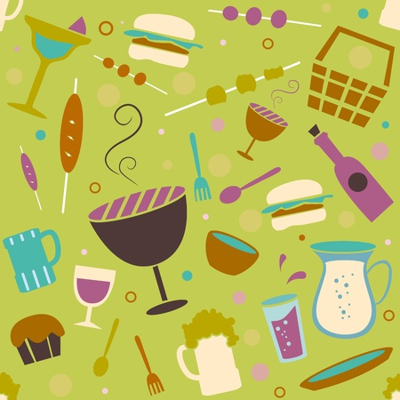 Seamless Background Illustration of Barbecue Related Items illustration
