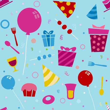Seamless Background Illustration of Birthday Related Items Stock Illustration - 9456860