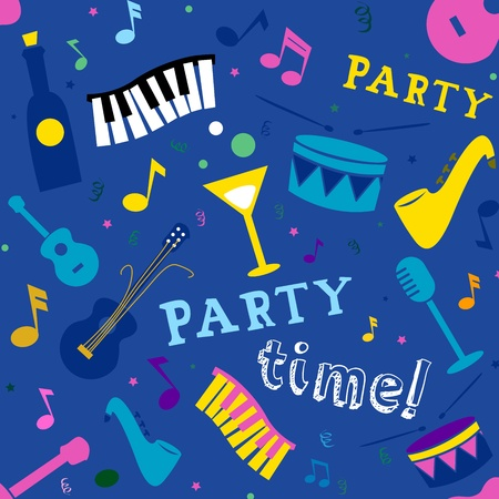 bash: Seamless Background Illustration of Music and Party Related Items Stock Photo