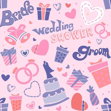 Seamless Background Illustration of Wedding Related Items illustration