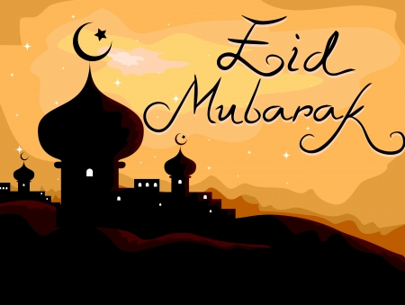 Silhouette of a Mosque with Holiday Greetings in the Background photo