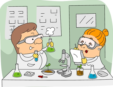scientist woman: Illustration of Agricultural Scientists at Work Stock Photo
