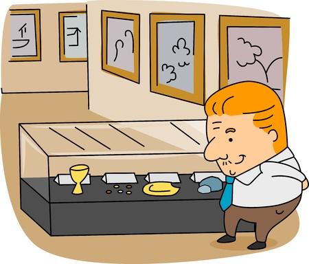 Illustration of an Archivist at Work illustration