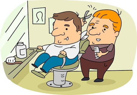cartoon hairdresser: Illustration of a Barber at Work Stock Photo