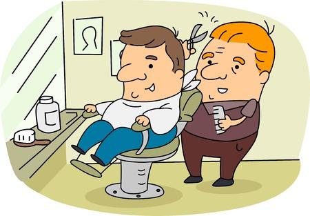 peluquero: Ilustraci�n de un barbero en el trabajo