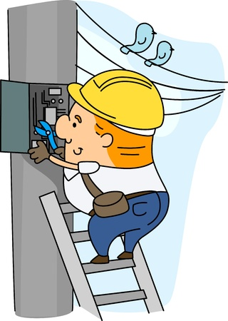 Illustration of an Electrician at Work Stock Illustration - 9456834