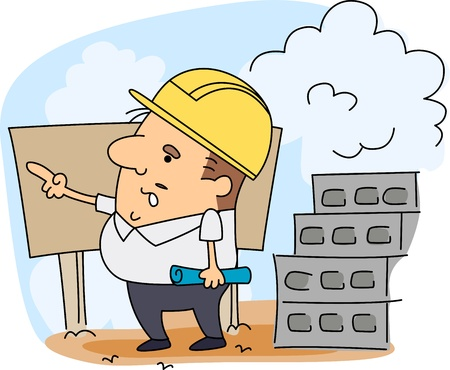 Illustration of an Engineer at Work Stock Illustration - 9456865