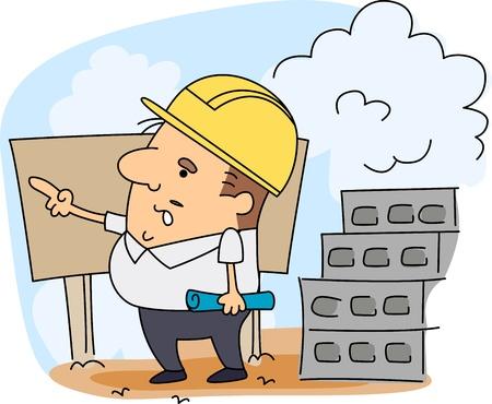 arquitecto caricatura: Ilustraci�n de un ingeniero en el trabajo